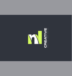 green letter nl n l combination logo icon company vector image