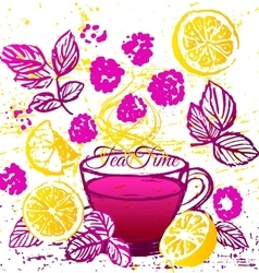 Ink hand drawn cup of raspberry tea with lemon vector
