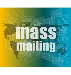 Mass mailing word on digital screen global vector