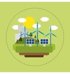 renewable energy solar wind city vector image