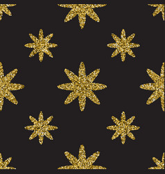 Seamless pattern with gold glitter textured stars vector
