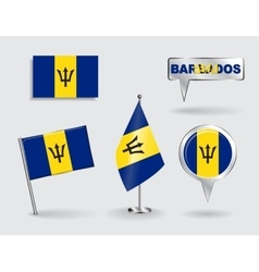 Set of barbados pin icon and map pointer flags vector