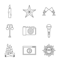 Shine forth icons set outline style vector
