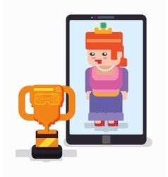 Smartphone princess trophy online game vector