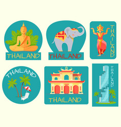 thailand poster of cards with symbolic signs vector image