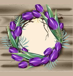 tulip flowers wreath frame decor with vector image vector image