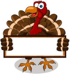 turkey cartoon with blank board vector image vector image