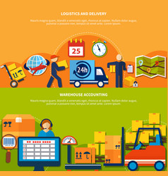 two warehouse banner set vector image vector image