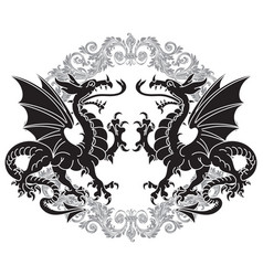 Two winged heraldic dragon and victorian pattern vector
