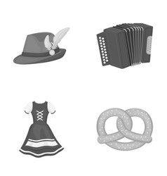 Tyrolean hat accordion dress pretzel vector