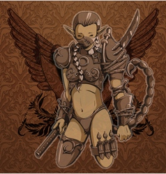 Warrior girl with wings vector