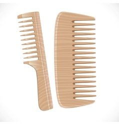 Wooden comb isolated on white background vector image
