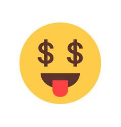 yellow smiling cartoon face show tongue money rich vector image