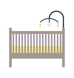 Newborn crib and mobile toy vector
