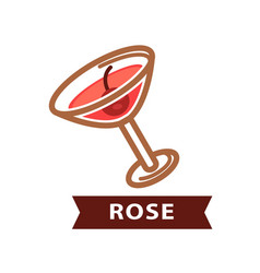 Alcohol drink rose decorated with red berry vector