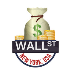 Wall street new york bag money currency vector