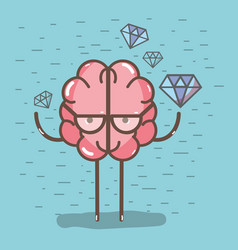 icon adorable kawaii brain with a lot of diamond vector image