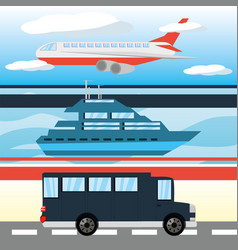 Airplane yacht and bus transportation set icon vector