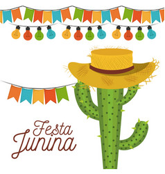 White background poster festa junina with of vector