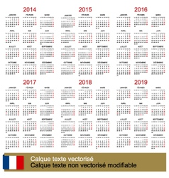 Calendar 2014-2019 vector image