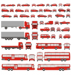 Vehicle assorted silhouettes vector