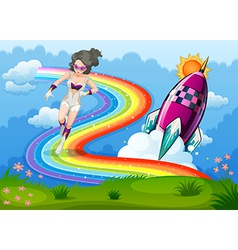 A superhero above the rainbow and a rocket vector