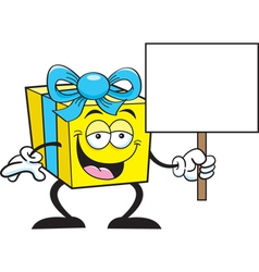 Cartoon gift holding a sign vector