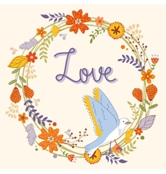 Beautiful love card with floral wreath and bird vector image