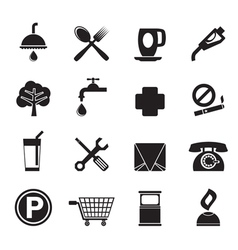 Silhouette petrol station and travel icons vector