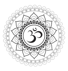 Om sanskrit symbol with mandala ornament vector