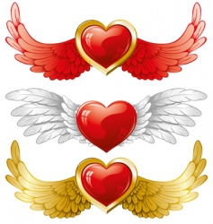 Set of hearts with wings vector