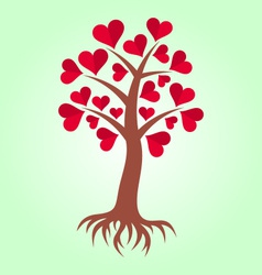 Tree with hearts and roots vector