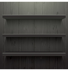 Dark wood background shelves vector