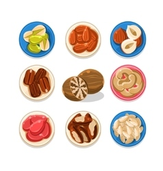 Nut icon set vector