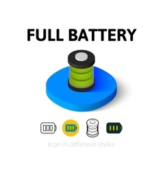 Full battery icon in different style vector