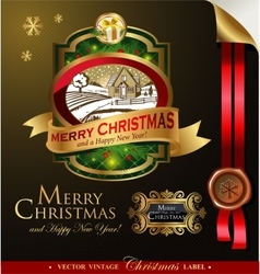 Christmas label with lovely winter landscape vector