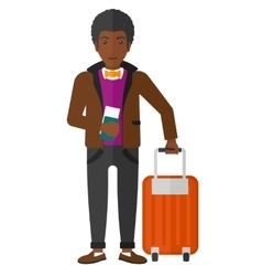 Man standing with suitcase and holding ticket vector