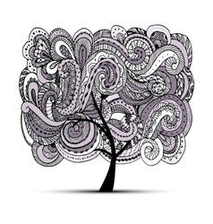 Abstract wavy tree for your design vector