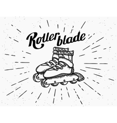 Rollerblades vintage icons vector
