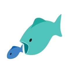 Big fish eats little fish icon isometric 3d style vector
