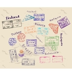 Real visa stamps from 9 countries vector