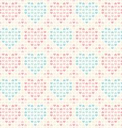 Retro seamless pattern pink and blue hearts vector