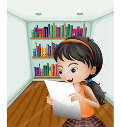 A girl reading her notes in a paper vector