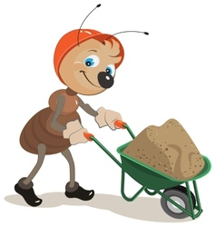 Ant carries a cart with sand vector image vector image