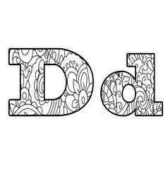 Anti coloring book alphabet the letter d vector