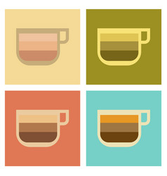 Assembly flat icons coffee cup latte macchiato vector