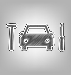 Car tire repair service sign pencil vector