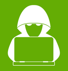 computer hacker with laptop icon green vector image