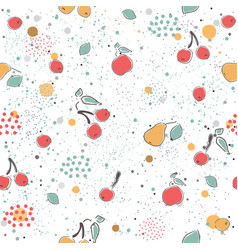 cute seamless pattern with pears and dotted vector image