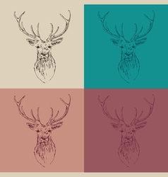 Deer head hipster style with glasses and mustache vector